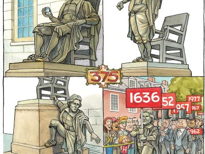 Cover art for the Harvard Gazette graduation and Reunion issue, 2012
