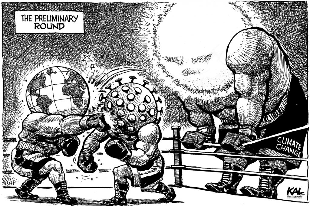 Kal cartoon The Economist Preliinary round for Climate Change