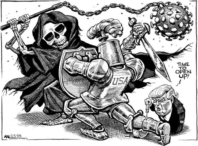 A battle for the ages. @baltimoresun #coronavirus #trump #openeconomy #satire #cartoon
